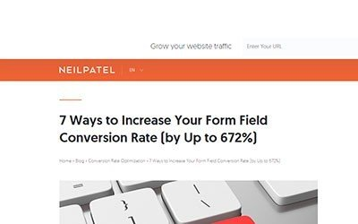 Neil Patel: 7 Ways to Increase Your Form Field Conversion Rate (by Up to 672%)