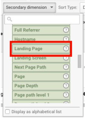 "A screenshot from Google Analytics with a red box pointing out ""Landing Page"" under ""Behavior."""