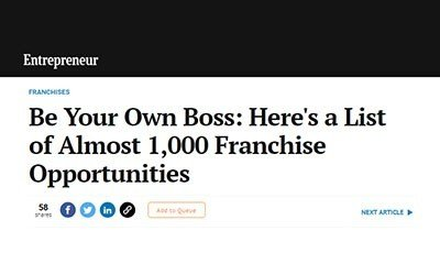 Entrepreneur: Be Your Own Boss: Here's a List of Almost 1,000 Franchise Opportunities