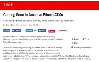 Time: Coming Soon to America: Bitcoin ATMs