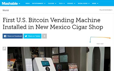 Mashable: First US Bitcoin Vending Machine Installed