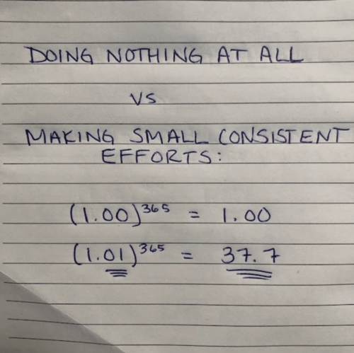 doing nothing at all vs. small consistent efforts