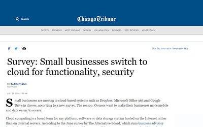 Chicago Tribune: Survey: Small businesses switch to cloud for functionality, security