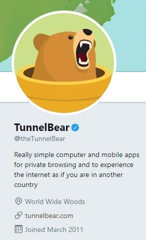 Screenshot of the TunnelBear Twitter profile