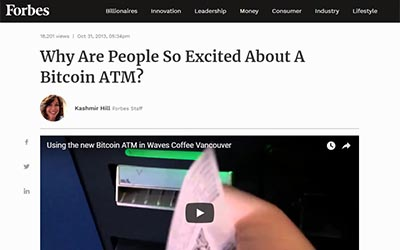 Forbes: Why Are People So Excited About a Bitcoin ATM?