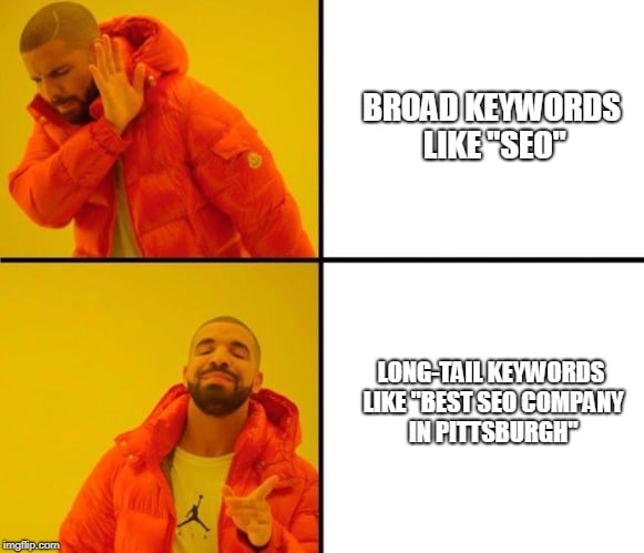 "Drake demonstrates that long-tail keywords like ""Best SEO Company in Pittsburgh"" are better to target than broad keywords like ""SEO,"" and we agree."
