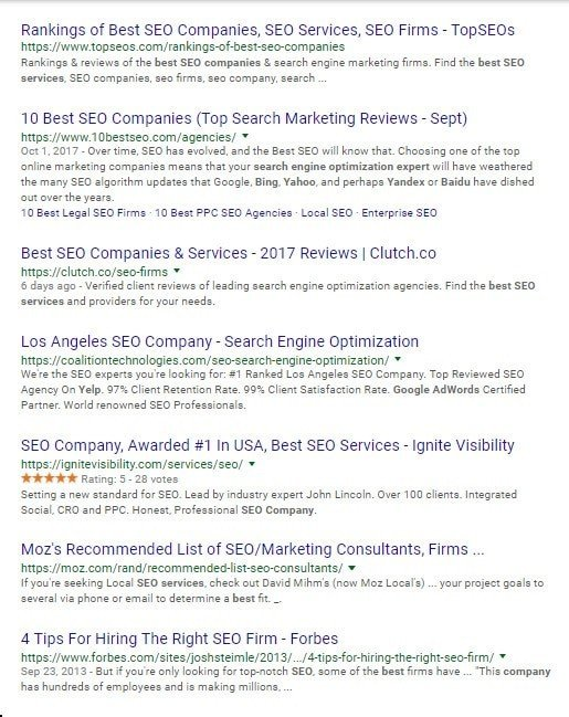 A search engine results page showing SEO companies