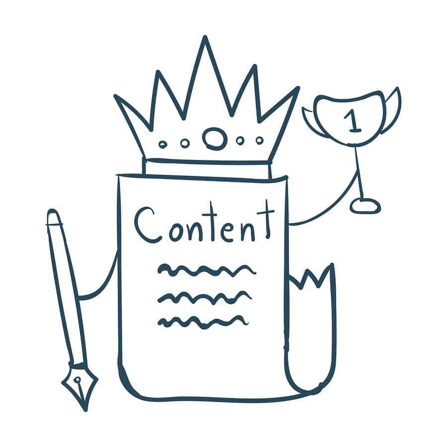 "A cartoon illustration of a paper labeled ""Content"" wearing a crown and holding a trophy, because content is queen!"