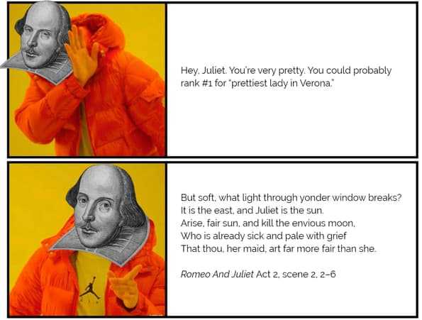 "Wack Shakespeare: ""Hey Juliet, you're pretty."" Rad Shakespeare: ""But soft, what light through yonder window breaks?"""