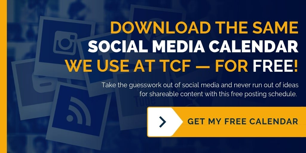 Download the same social media marketing posting schedule we use at TCF, for FREE