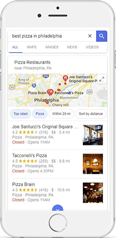 "Local search results for the keyword ""best pizza in philadelphia"""
