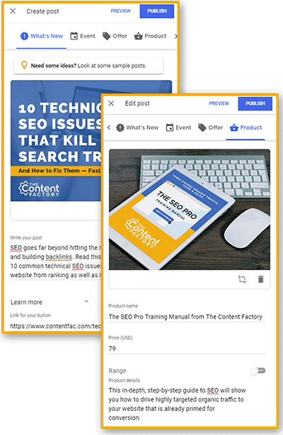 "Screenshots of two Google My Business posts: one ""What's New"" and one Product post"