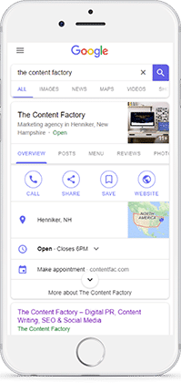 Mobile screenshot of TCF's Google My Business listing