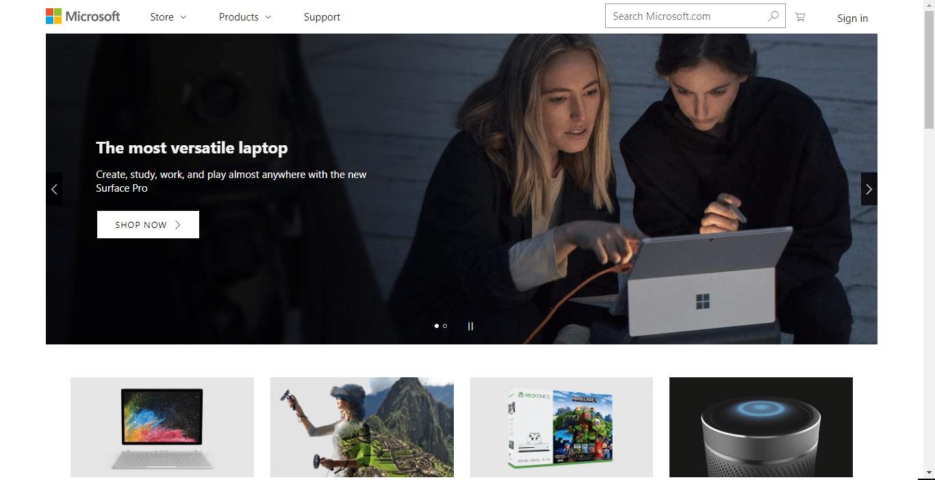 microsoft's website