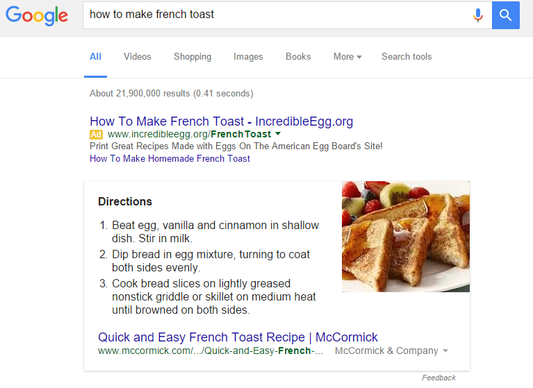 Google's Featured Snippet Box
