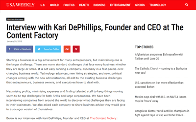 USA Weekly: Interview with Kari DePhillips, Founder and CEO at The Content Factory