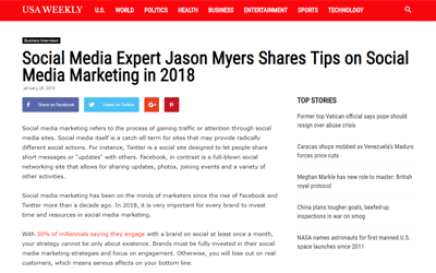 Social Media Expert Jason Myers Shares Tips on Social Media Marketing in 2018